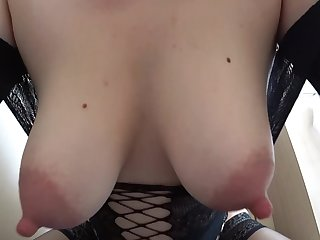 MILF on early pregnancy, large nipples. fuck with a dildo in a dog pose