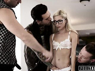 PURE TABOO Nerdy Girl PIPER PERRI Loses Virginity in ROUGH GANGBANG