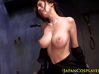Japanese fetish babe gets cumshot over bigtits