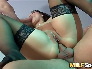 Sexy MILF Chantel Ferrera sucks two hard cocks before anal and DP