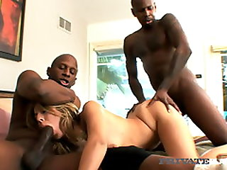 PrivateBlack - Chastity Lynn Blindfolded & DPd By 2 BBCs!