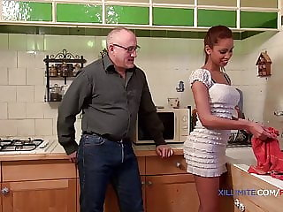 Young blacked girl fucked by an old man