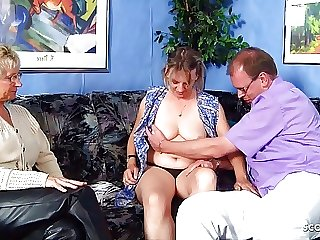 German old Couple Seduce Mature Maid to FFM Threesome Sex
