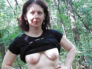 74yr old Granny with Hairy Pussy – POV Outdoor Sex with Teen