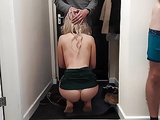 Cuckold husband shares his horny wife with delivery guy.
