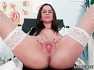 fetish, masturbation, uniform, fingering, dildo, nurse, toys, close-up, solo, exposednurses.com, heels, brunette
