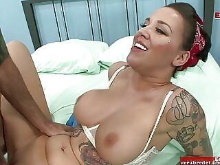 Tall inked woman with perfect tits and brown hair gets a big cock