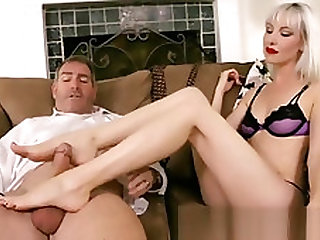 Perfect White Feet Cuckold Footjob
