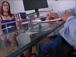 Boss in beautiful blue dress gives footjob