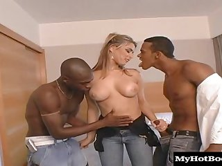 Sexy, blonde Brazilian with big boobs, Sabrina Love, takes on two well hung