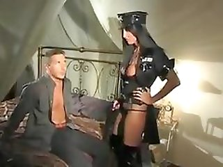 Hot chick in latex boots wants his dick