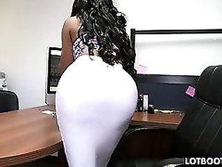 Thick ass black secretary and white cock
