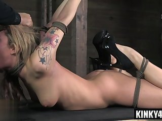 Hotness porn actress blidfolded and deepthroated in bdsm bondage with orgasm