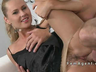 Blonde female agent fucked in pantyhose