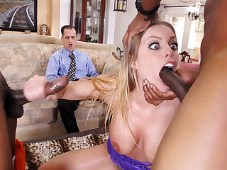 Cuckold Watches Anal Slut Britney Amber Gets DP'd