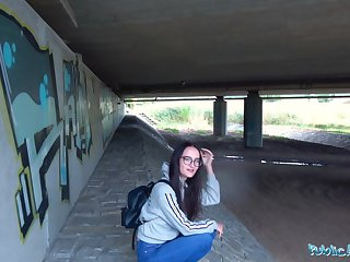 Public Agent Hot Czech body fucked under public bridge after sucking cock