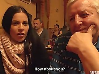 Old And Young: Czech Brunette Hooks Up With Old Ugly Guy