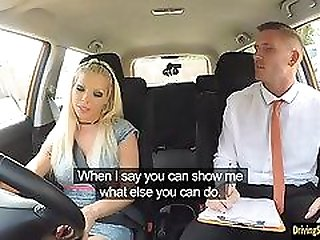 Big tits blond lady Barbie Sins banged by driving instructor