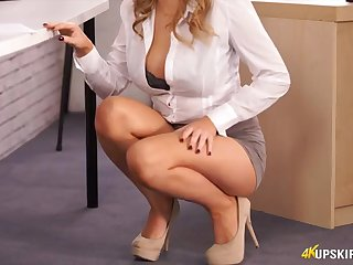 Smoking hot secretary does an upskirt tease for you