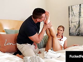 Pigtailed Foot Chick Anabelle Pync Gives Superb Foot Job!