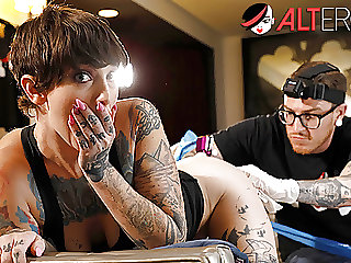 Sully has her pussy tattooed while being ass fucked