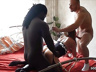 Amateur Threesome for German Girlfriend with BF and Black