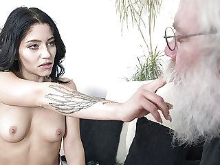 Grandpa sucks young girls tits then gets a blowjob