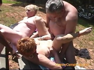 Two Grannies Have a Slutty Picnic Orgy