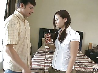 Thai Aupair Teen Seduce to Rough Fuck by her Big Dick Boss