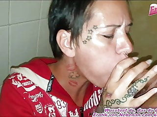 German milf fucks at public toilet with cum facial