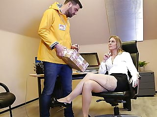 His boss demands cock up her ass