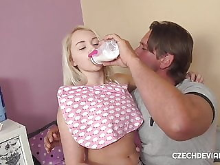 Barbie doll blonde is feeding on cock