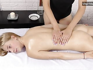 Lizka virgin pussy massage with a girl