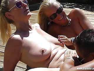Two blond girls have fun in Gran Canaria