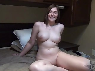 Curvy naked babe in the RV has a gorgeous shaved pussy
