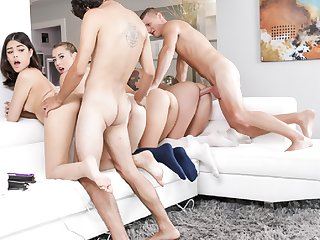 Teens suck and fuck lucky studs into oblivion