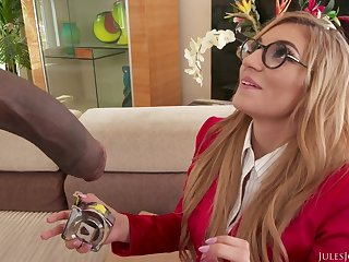 Young student in eyeglasses takes half meter long black dick - interracial with cumshot